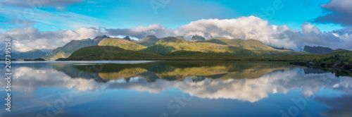Foto op Aluminium Blauw Arctic mountains and fjord in northern Norway at summer