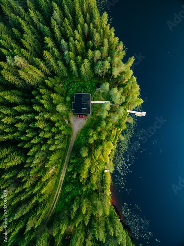 Poster Rivière de la forêt Aerial view of wooden cottage in green forest by the blue lake in rural summer Finland