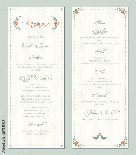 Garden Greenery Printable Wedding Menu Template Vector Illustration