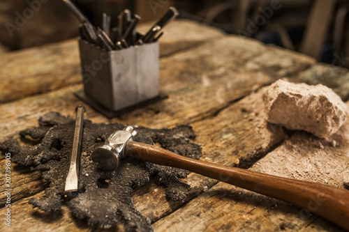 Hammer and tools for working with metal