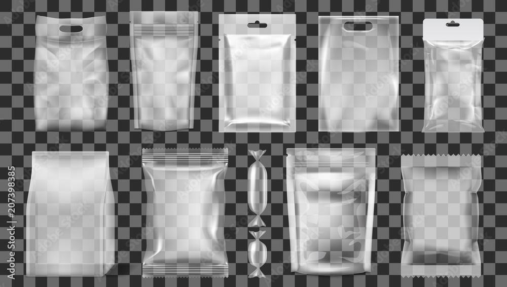Fototapeta Big Set Of Transparent Empty Plastic Packaging