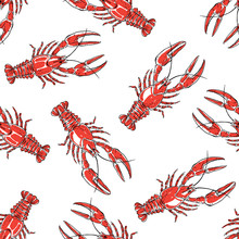 Seamless Pattern With Red Craw...