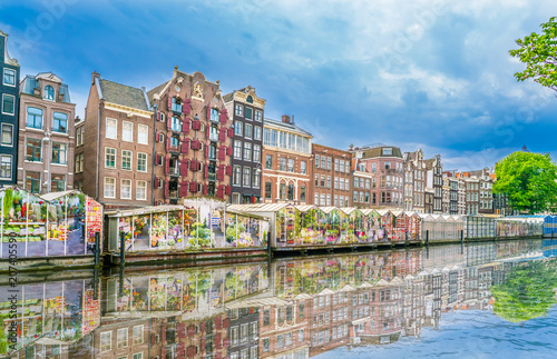 Amsterdam, The Netherlands May 27 2018 - The Flower market at the Singel Canal i Canvas Print