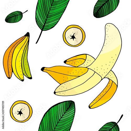 Photo  Banana doodle seamless pattern.