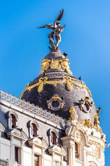 MADRID, SPAIN - SEPTEMBER 26, 2017: View of Metropolis building. Copy space for text. Vertical.