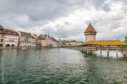 City on the water View of the old town in Lucerne. Mountain lake in the Alps