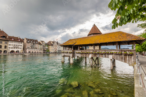 Spoed Foto op Canvas Stad aan het water View of the old town in Lucerne. Mountain lake in the Alps