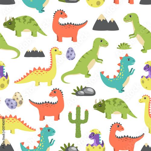 Dino Seamless Pattern Image Vector Illustration Wall mural