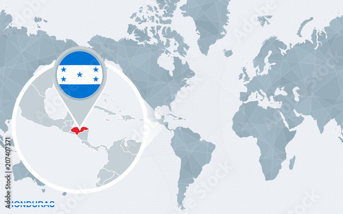 World Map Centered On America With Magnified Honduras Buy This
