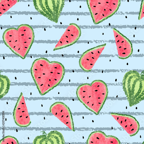 Cotton fabric Seamless heart shaped watermelon pattern. Vector striped summer background with watercolor watermelon slices.