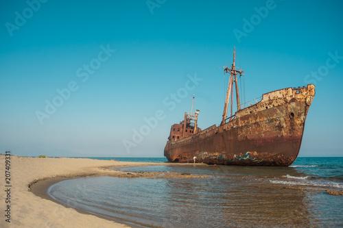 Poster Naufrage Dimitrios shipwreck at Valtaki beack, Gytheio, Lakonia, Greece