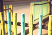 Bright Stakes Of Wooden Fence