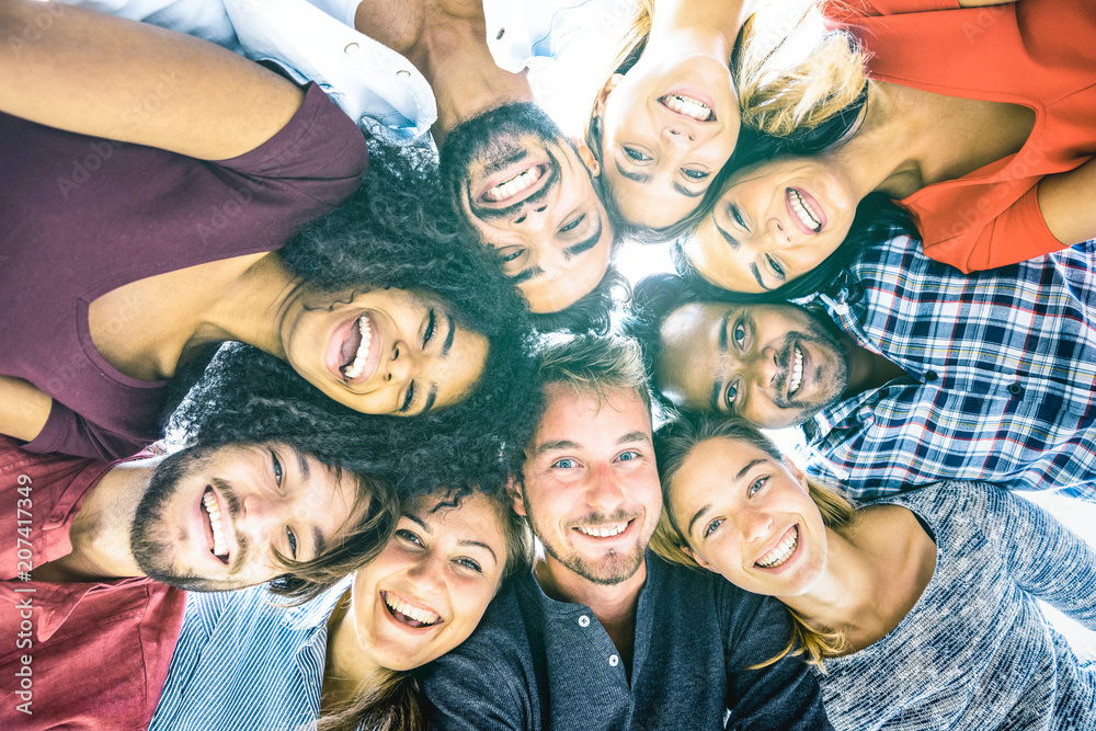 Fototapety, obrazy: Multiracial best friends millennials taking selfie outdoors with back lighting - Happy youth friendship concept against racism with international young people having fun together - Azure filter tone
