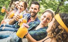 Happy Friends Drinking Healthy...