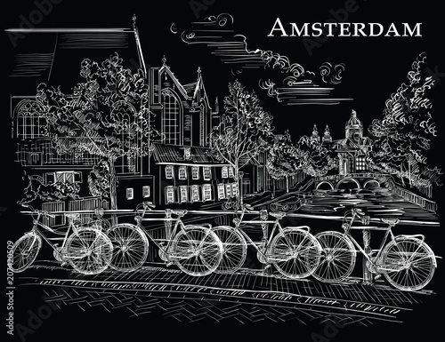 Bicycles on bridge in Amsterdam, black Canvas Print