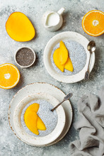 Healthy Breakfast Set. Chia Seed Pudding Bowls With Mango.