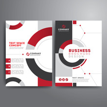 Business Brochure Template Red Gray Geometric Shapes