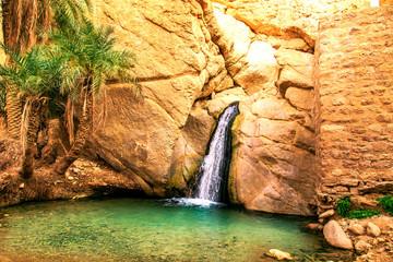 Scenic waterfall in oasis Chebika.