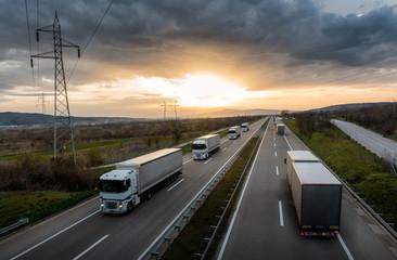 Caravan or convoy of white ...