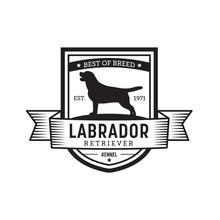 Vintage Dog Badge. Labrador Retriever Logo. Vector Illustration.