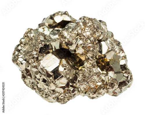 raw iron pyrite stone isolated