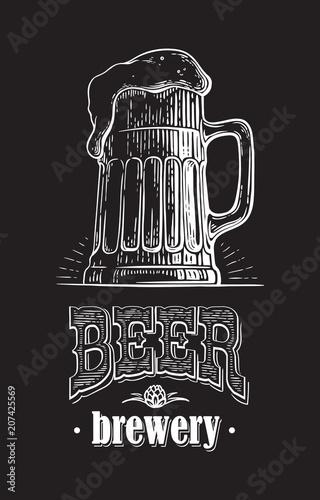 czarno-bialy-kufel-wypelniony-piwem-ilustracja-w-stylu-vintage