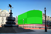 London, Piccadilly Circus With Green Screen Displays.