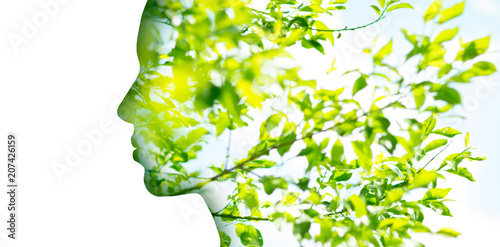 In de dag Natuur beauty, nature and ecology concept - portrait of woman profile with green tree foliage with double exposure effect