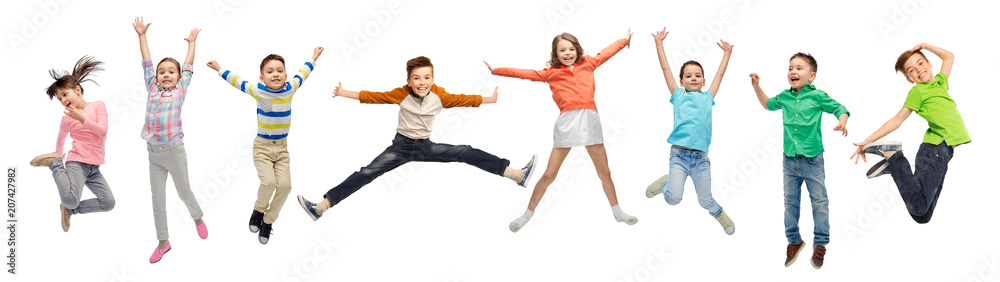 Fototapety, obrazy: happiness, childhood, freedom, movement and people concept - happy kids jumping in air over white background