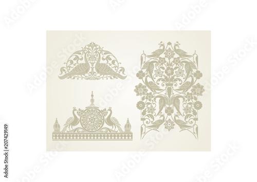 Foto  peacock motif designs, textile , Rajasthan, royal India