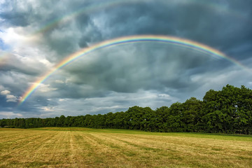 Picture of colourful rainbow at the yellow field with cloudy sky