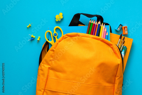 Fototapeta Back to school concept. Backpack with school supplies. Top view. Copy space obraz