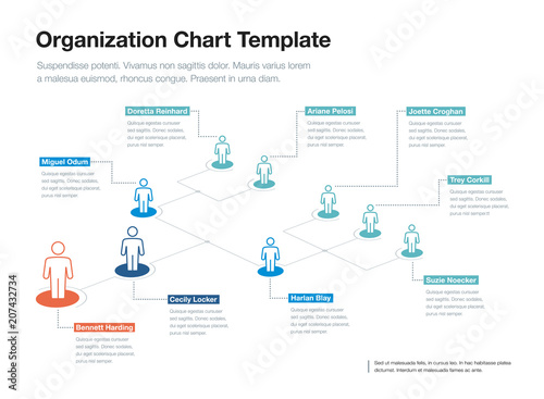 simple company organization hierarchy chart template with place for