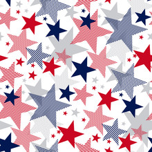United States National Symbol Stars Seamless Pattern.