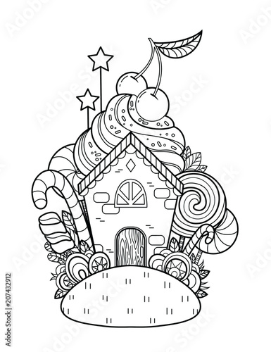 A fabulous Sweet Home. Page for coloring book, greeting card, print ...