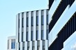 Modern office building wall made of steel and glass