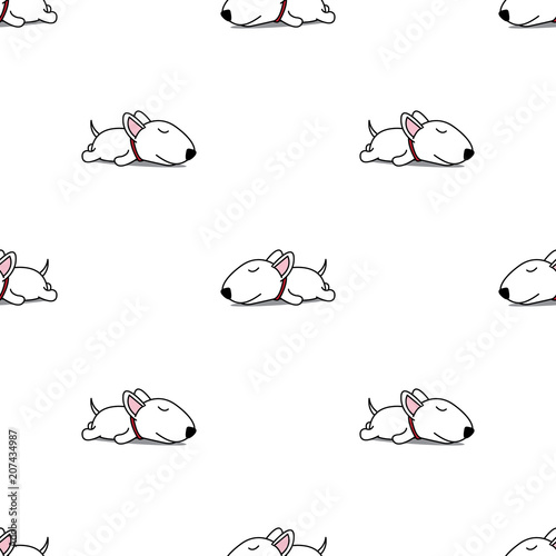 Fotografiet Cute bull terrier puppy sleeping seamless pattern, vector illustration