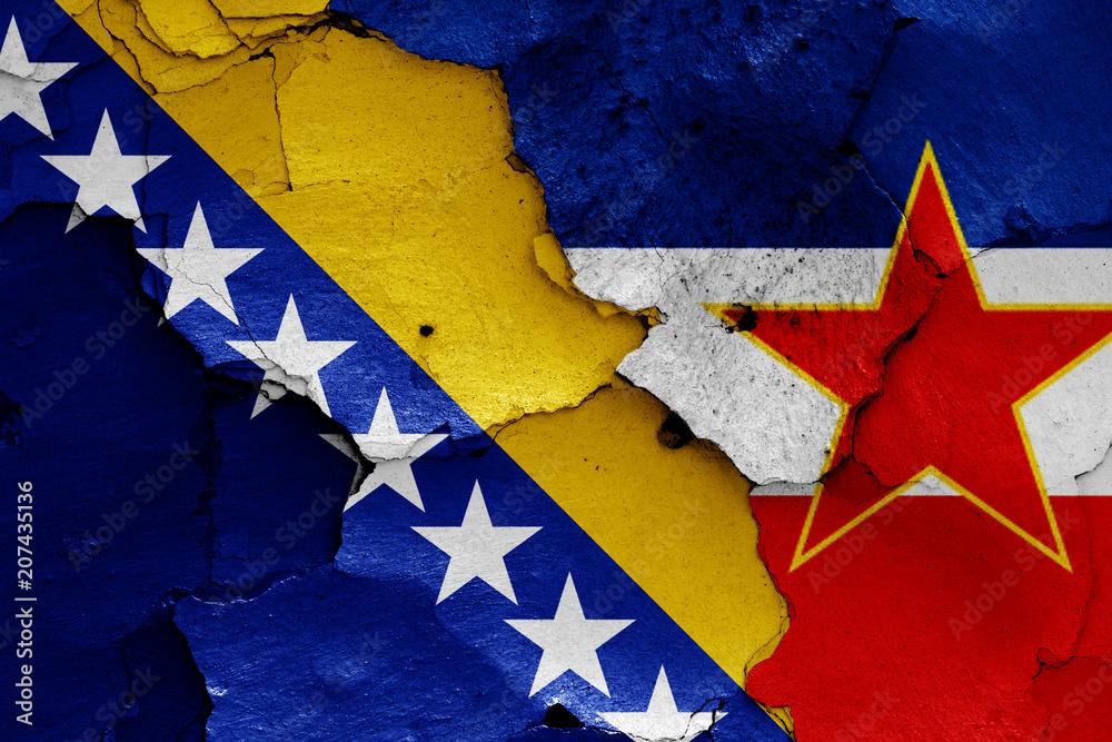 Flaggen Von Bosnien Und Herzegowina Und Jugoslawien Foto Poster