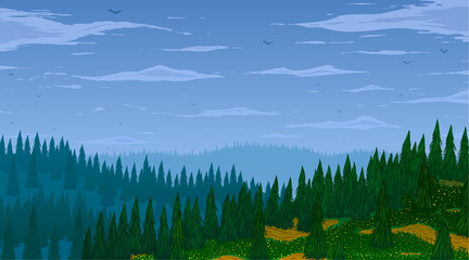 Fototapeta Las Vector background. Fir forest in hilly mountains with meadows.