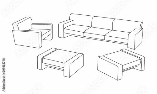 Set Of Modern Sofa Icon Design For Living Room Elements Outline