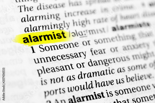 Highlighted English word alarmist and its definition in the dictionary Canvas Print