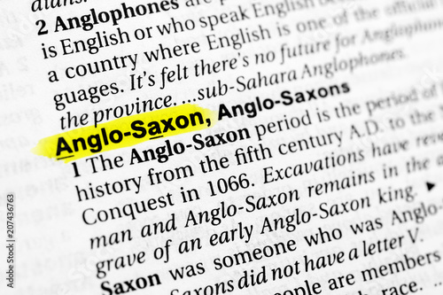 Fényképezés Highlighted English word anglo saxon and its definition in the dictionary