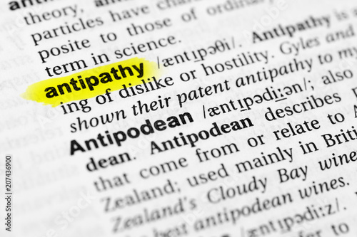 Highlighted English word antipathy and its definition in the dictionary Wallpaper Mural