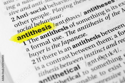 Highlighted English word antithesis and its definition in the dictionary Wallpaper Mural
