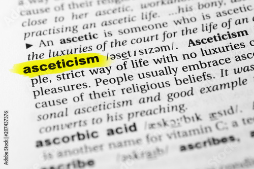 Highlighted English word asceticism and its definition in the dictionary Wallpaper Mural
