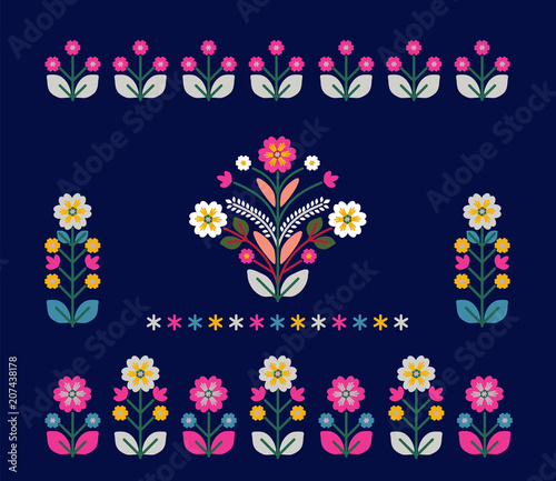 Valokuva  Retro, traditional floral ornament inspired by Ukrainian and Polish  traditional
