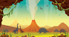 Prehistoric Landscape With Cave, Dinosaurs And Volcanos