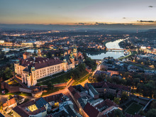 Cracow At Night / Aerial View