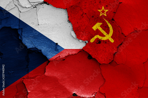 flags of Czech republic and Soviet Union Poster