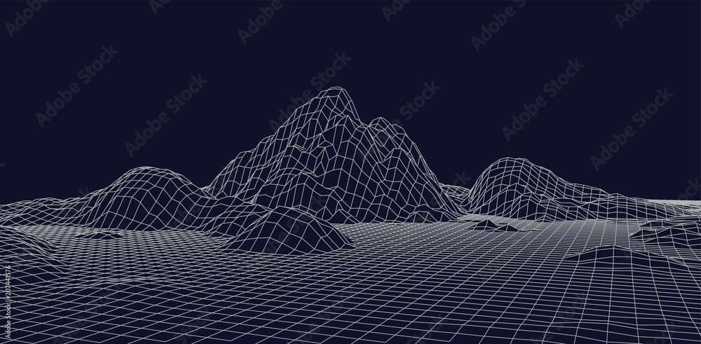 Fototapeta Abstract vector wireframe landscape. Abstract mesh landscapes. Polygonal mountains. Vector illustration.